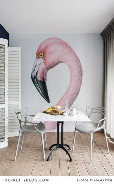 modern, simple dining room with a beautiful flamingo.
