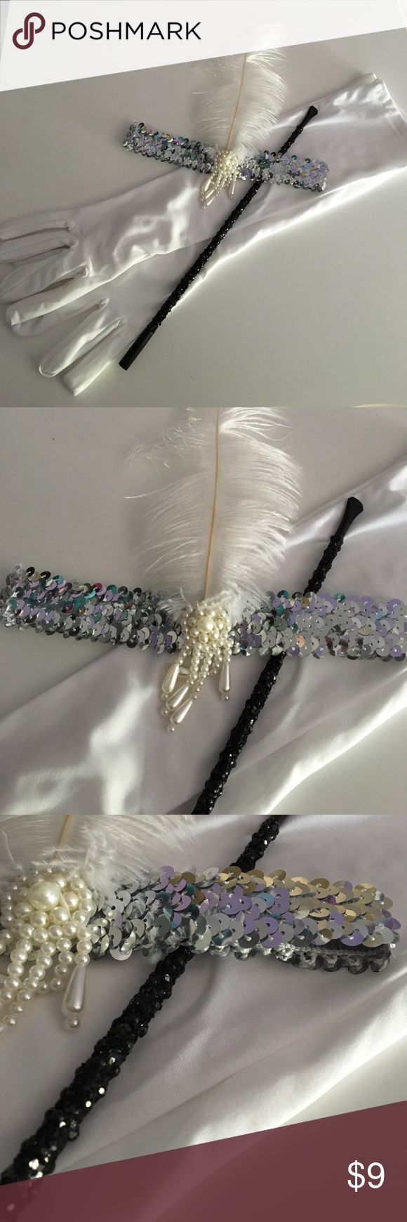 Flapper Accessory Kit These gloves headband and cigarette holder, are the perfect accessories for Halloween, dress up or everyday wear. Used only once very clean and in good condition. Accessories Hair Accessories