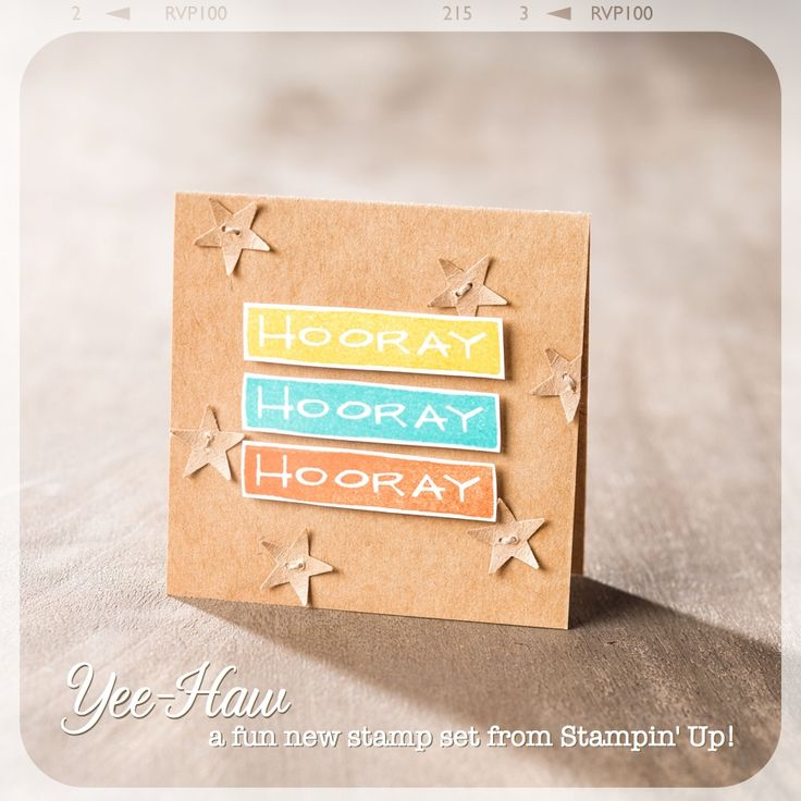 "Love this 3"" x 3"" mini card made with the Yee-Haw stamp set.: Cards Ideas, Yee Haw Photopolym, 8 Hooray Cards, Yee Haw Stamps, Stampin Up, Stamps Sets, 3X3 Cards, Yeehaw, Photopolym Stamps"