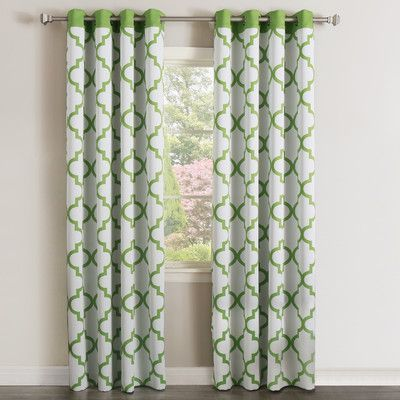 """Best Home Fashion, Inc. Moroccan Curtain Panels Color: Green, Size: 52"""" W  x 84"""" L"""