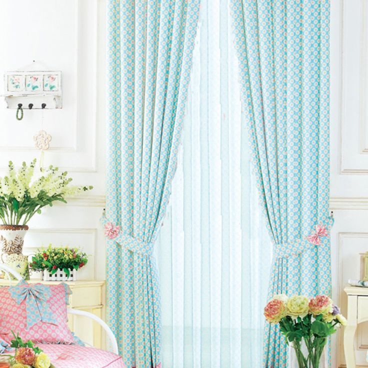 Flower Dots Neoclassical Blue Kids Curtains #kids #curtains #homedecor  #nursery #custommade