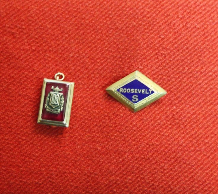 Vintage School Pins, Set of 2, Roosevelt High School 1935, Going Steady Gifts by ArtBarn on Etsy