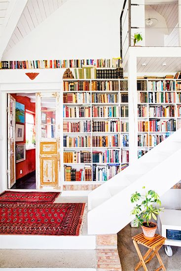 15 Lovely Libraries in Unexpected Places // stairway bookcase