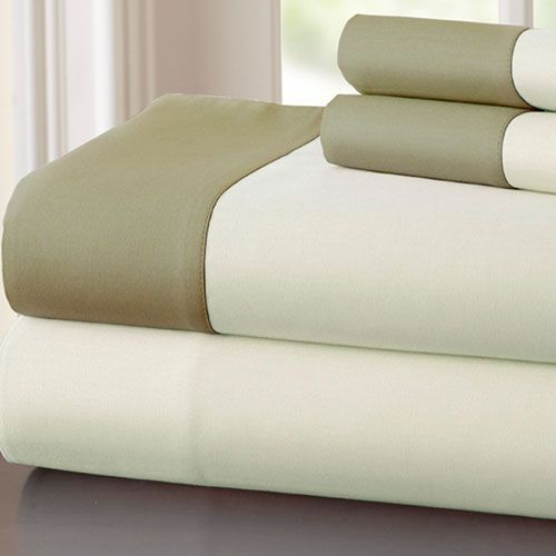 Fine Linens Ivory and Taupe Four-Piece 400 Thread Count Contrast Hem King Sheet Set - (In No Image Available)
