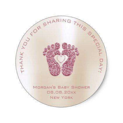 Heart Feet Baby Shower Favor Girl Thank Pink Ivory Classic Round Sticker - glitter glamour brilliance sparkle design idea diy elegant