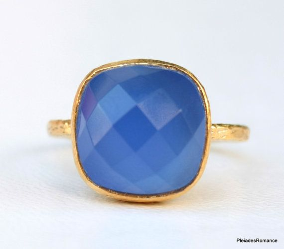 Square Cut Blue Chalcedony - 18K Vermeil Gold - September Birthstone - Gemstone Gold Ring