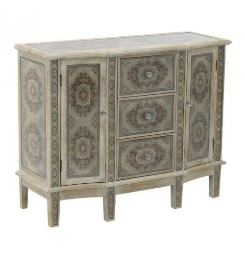 WOODEN CABINET W_GLASS IN CREME_BROWN 100X40_5X80_5