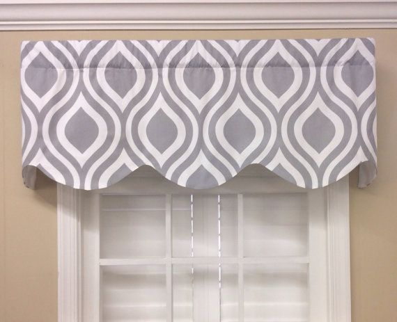 Grey And White Trellis Scalloped Valance By CurtainsBlindsBath 4299