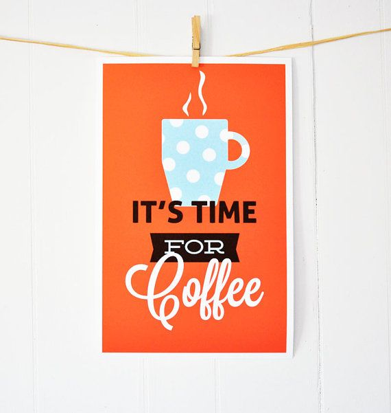 Coffee drinking retro kitchen It's Time For by GraphicAnthology, $24.00: Coffee Kitchens, Drinks Retro, Posters Prints, Kitchens Art, Art Prints, Coffee Prints, Coffee Time, Art Posters, Retro Kitchens