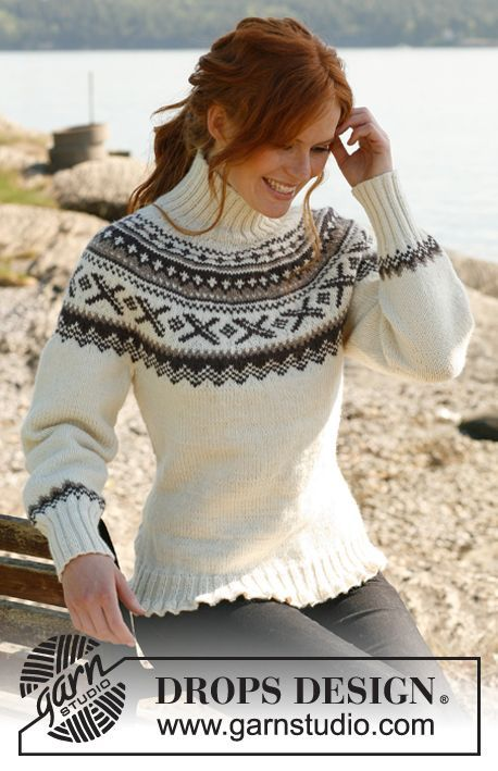 "Knitted DROPS jumper with round yoke and Norwegian pattern in ""Karisma"". Size: S to XXXL. ~ DROPS Design"