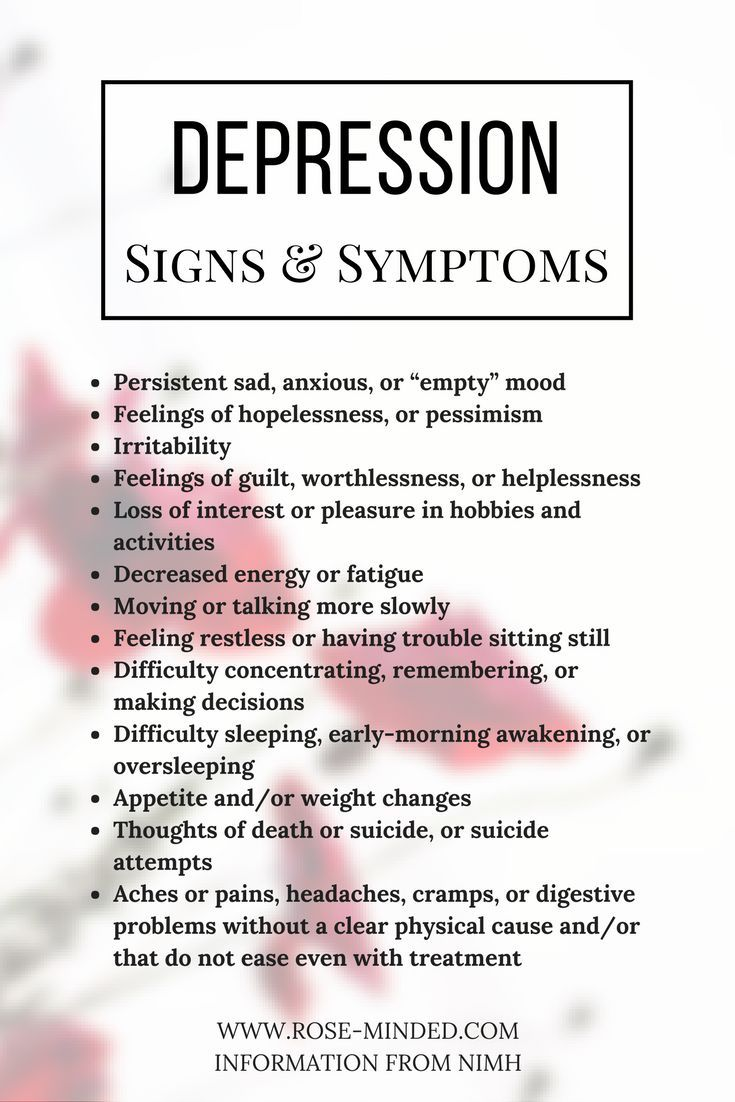 Signs and Symptoms of Depression | Mental Health | Rose Minded | California