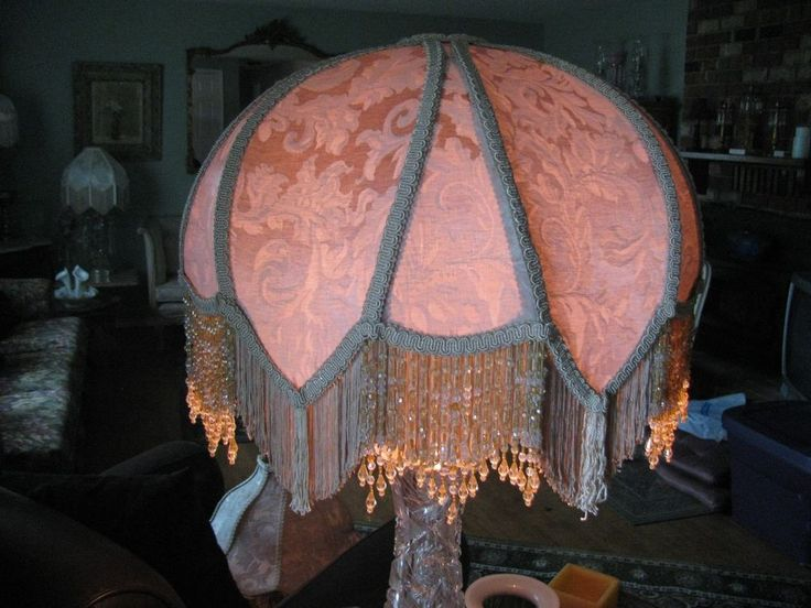 "Victorian French Large Lamp Shade Rosalee ""Gold "" Bead Fringe Tassels Nice!!"