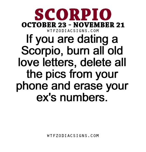 If you are dating a Scorpio, burn all old love letters, delete all the pics from your phone and erase your ex's numbers. - WTF Zodiac Signs Daily Horoscope!
