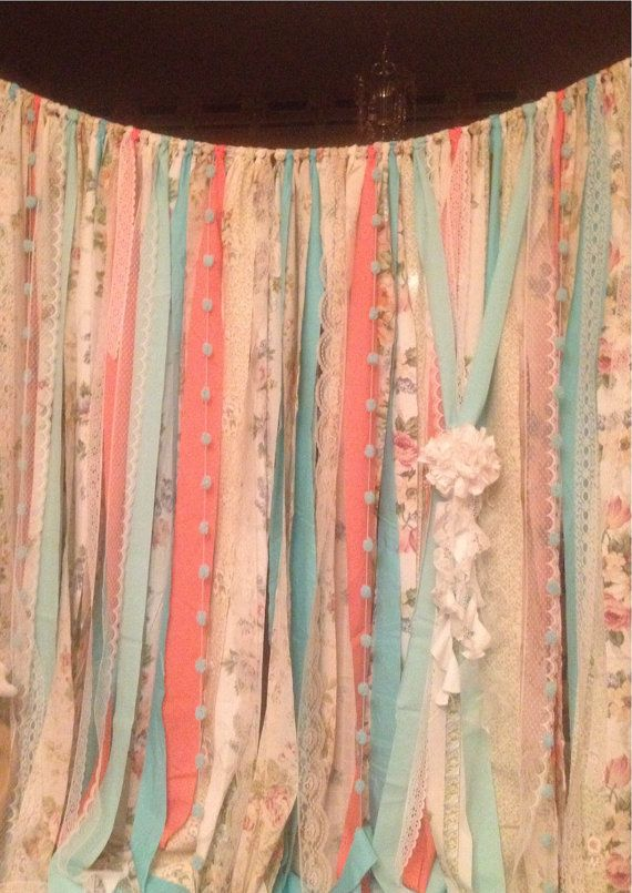 Mint Coral Aqua Teal Rag Curtain Ribbon Garland Lace and