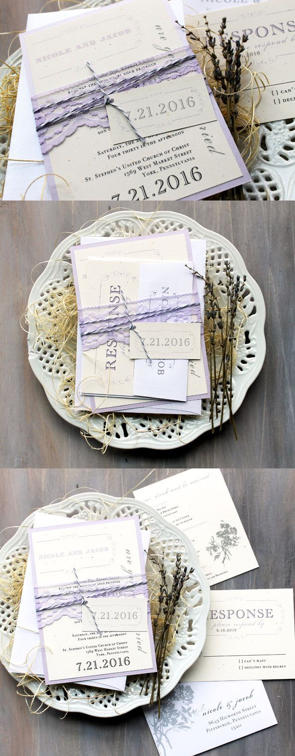 Purple Charmer - Rustic & Chic Lace Wedding Invitations, Baker Twine, Lilac. See more here: www.beaconln.com
