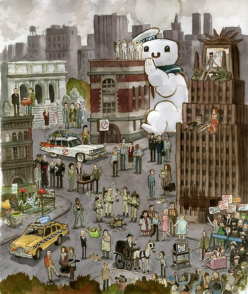 """""""Ghostbustland""""  Scott's contribution to Gallery 1988's Ghostbusters 30th Anniversary Show, starting in NYC."""