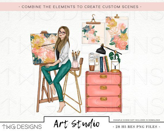 Art Studio Fashion Girl Clip Art Watercolor Clipart Artist Paint