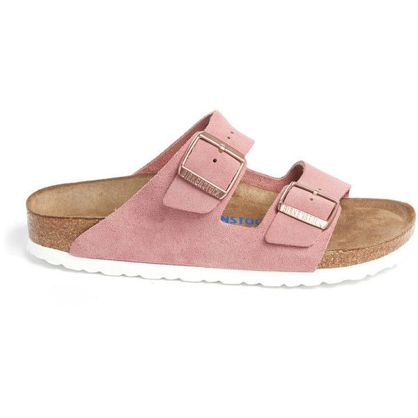 Birkenstock Rose Arizona Soft Footbed Sandals ($135) ❤ liked on Polyvore featuring shoes, sandals, rose sandals, white shoes, birkenstock, buckle shoes and birkenstock sandals