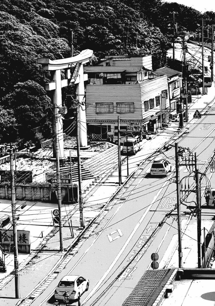 気 amazing line drawing showing light on a City road in Japan