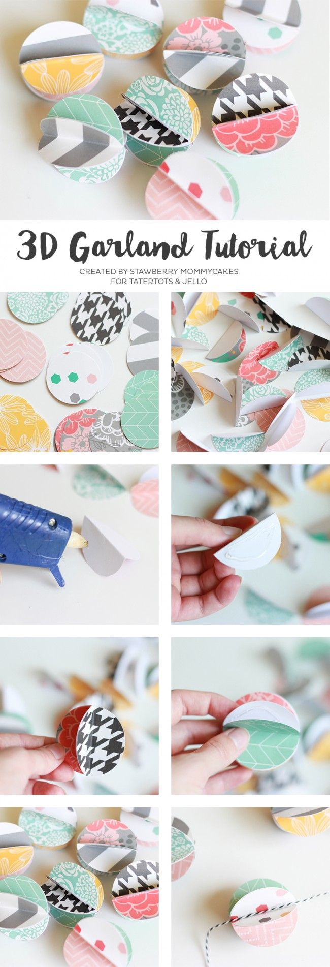 Such a cute and easy tutorial for home decor! 3D Circle Garland Tutorial