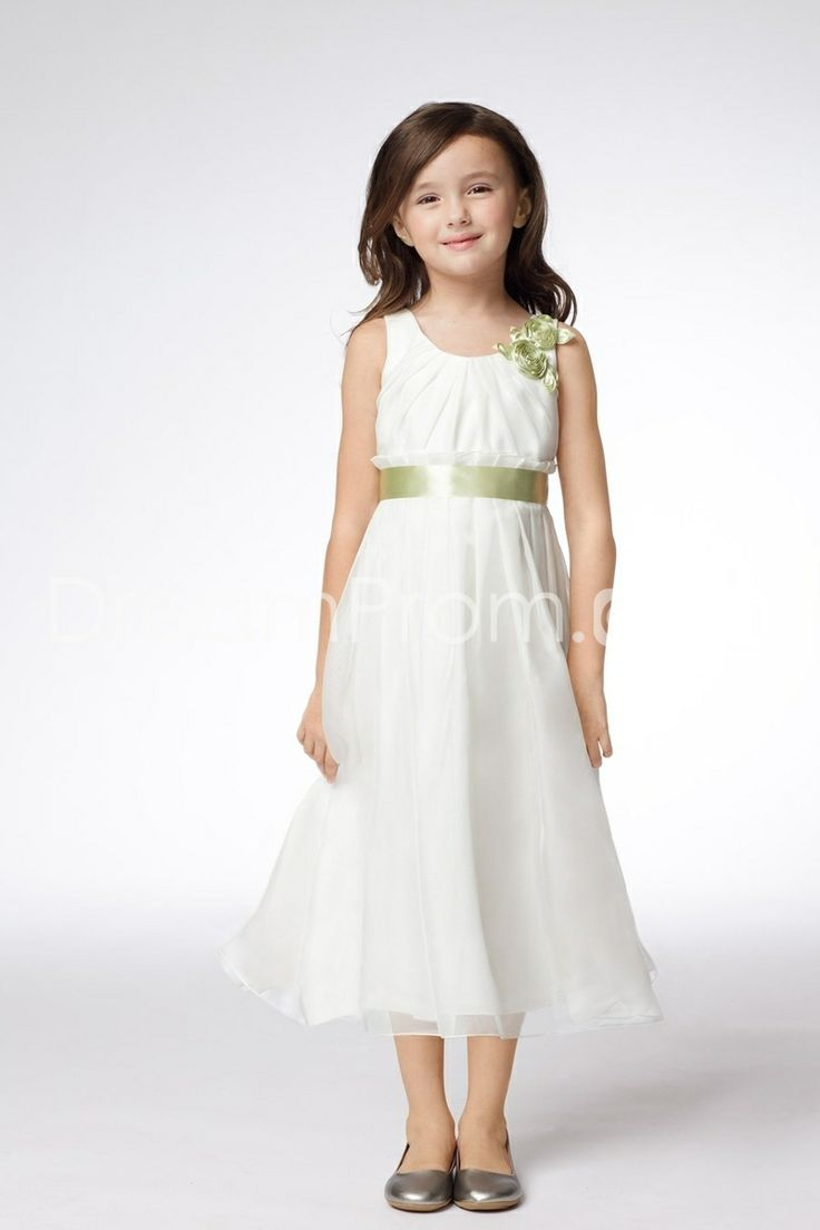 49 best girls white dresses images on pinterest girls dresses tea length a line empire sleeveless junior flowers bridesmaid dress ombrellifo Choice Image