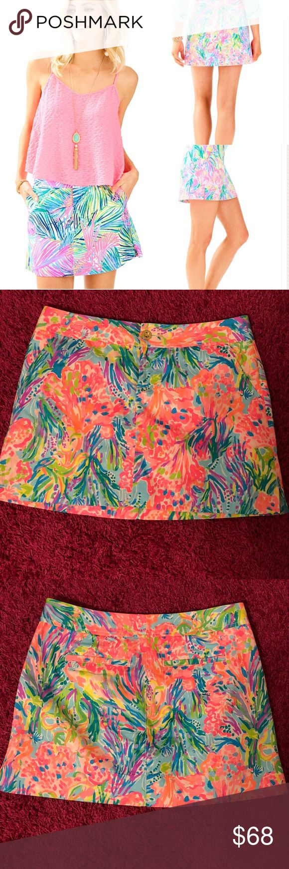 """Lilly Pulitzer Nike Skort 💕 The Nicki Skort gives you the look of a skirt and the freedom of shorts. This printed zip fly skort has a center front button closure, slant front pockets, and back welt pockets.   Zip Fly Skort With Center Front Button Closure, Slant Front Pockets, And Back Welt Pockets. 17"""" From Natural Waist To Hem. Vintage Dobby - Printed (100% Cotton).won once , like new ! NO TRADES ✅ Lilly Pulitzer Shorts Skorts"""