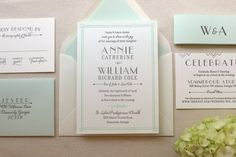 The Lush Deco Suite - Letterpress Wedding Invitation Suite - Art Deco, Gatsby, Garden, Twenties, Green, Mint, Grey, White, Old Hollywood
