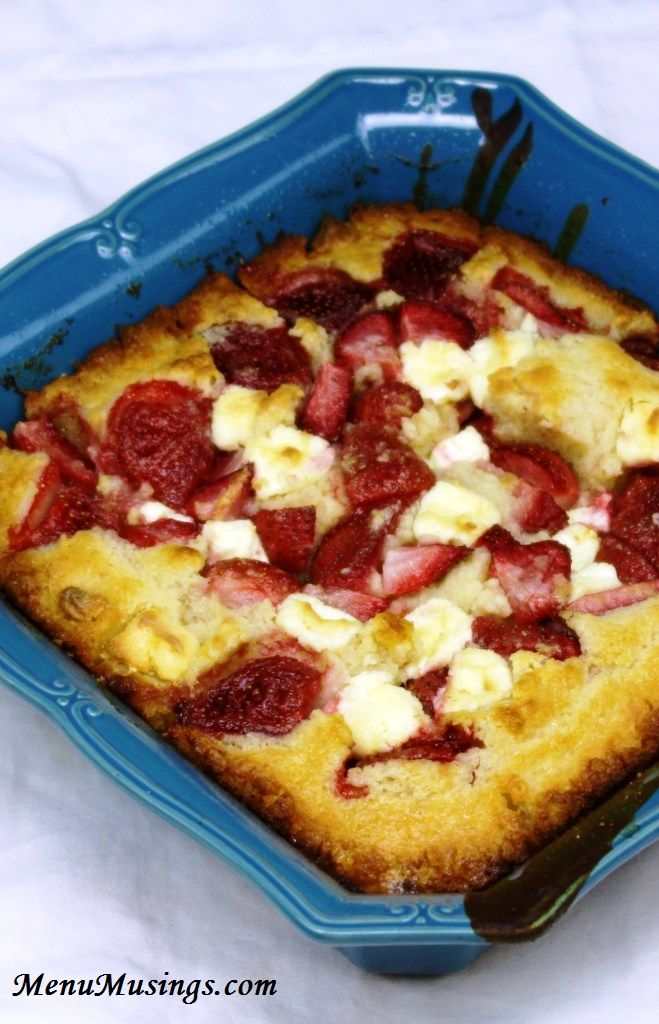 Strawberry Cream Cheese Cobbler - absolutely one of the easiest desserts ever.  Yum!!  Step-by-step photo tutorial.