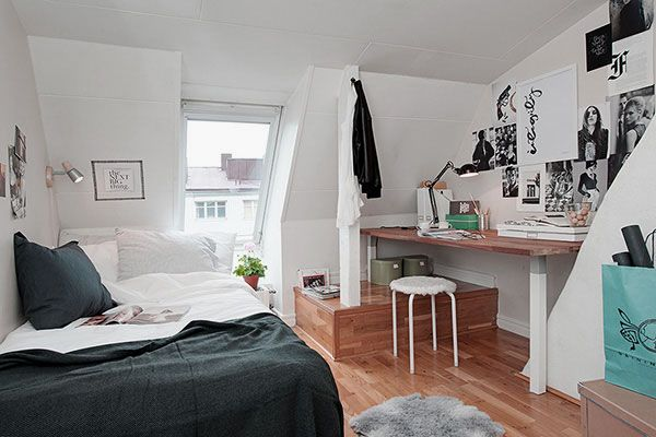 Scandinavian Style Teenage Attic Bedroom Design with Charming Window Skylights and Fascinating Study Table Ideas