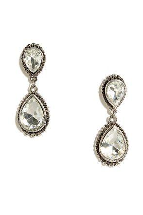 Astute Courtier Silver Rhinestone Earrings