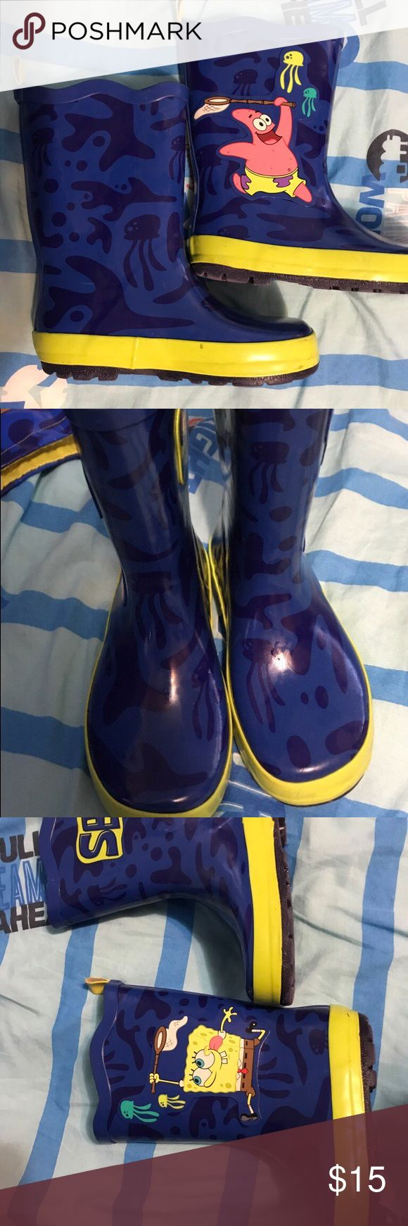 Boys rain boots SpongeBob and Patrick rain boots good condition yellow and blue size 11, non-smoking home barely worn Shoes Rain & Snow Boots