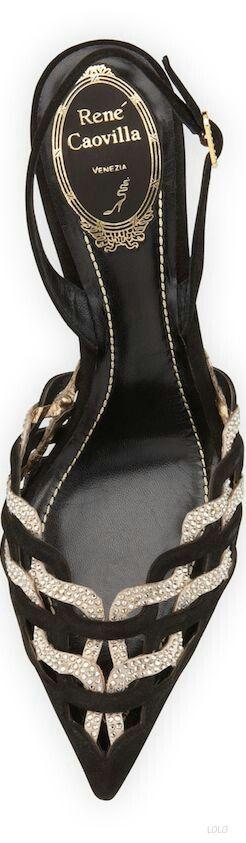 Rene Caovilla Black and Gold #Shoes #Stiletto♥✿♥