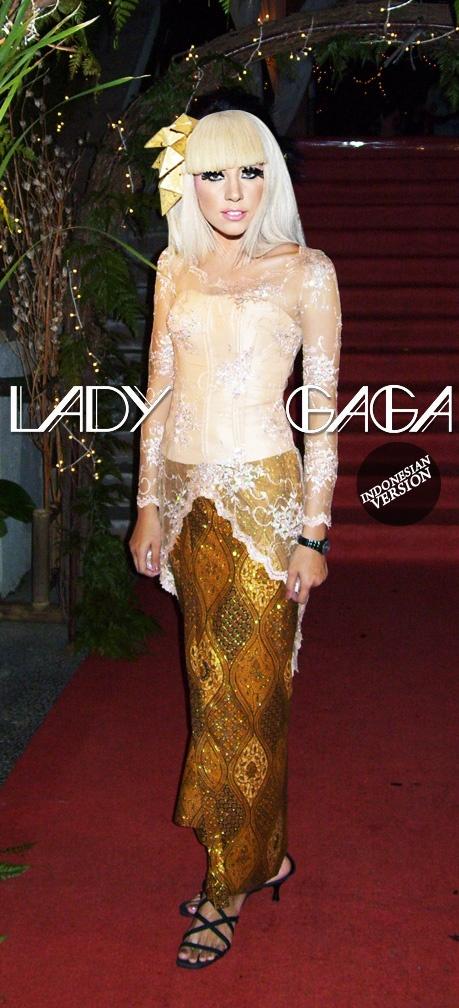 Lady Gaga using kebaya and batik
