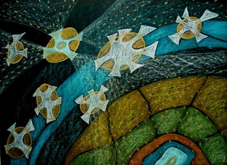 PF 2014 Štastná hvězda - pastel Tento obraz vznikl v prvních hodinách nového roku 2014. Vyjadřuje naději, kterou lidé často vkládají do dalšího roku ... Větší voskový akvarelový pastel je nakreslen na černém papíře. Velikost je 32:43cm . Cena je za originál obrázu bez rámu, ale na přání mohu rámování zajistit.