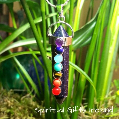 Abigail Goldstone Chakra Pendant Visit our store at www.spiritualgiftsireland.com  Follow Spiritual Gifts Ireland on www.facebook.com/spiritualgiftsireland www.instagram.com/spiritualgiftsireland www.etsy.com/shop/spiritualgiftireland We are also featured on Tumblr  If navy is the new black them I'm loving our new Goldstone Pendant.  These stunning chakra wand's are called after Abigail, a woman known biblically for her inner strength and courage as she protected her family from an impending…