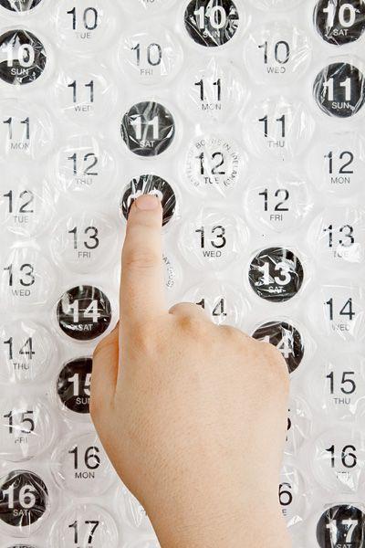 calendar made with bubble wrap!