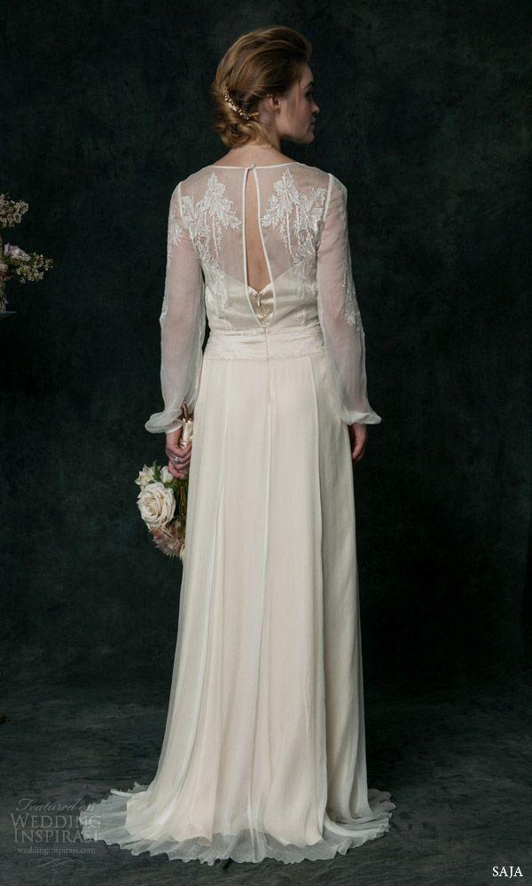 saja bridal 2016 hand embroidered long sleeve silk chiffon wedding dress vt6310 back view keyhole