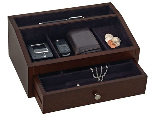 Mens wooden jewelry box valet with drawer gift ideas for Men s valet box