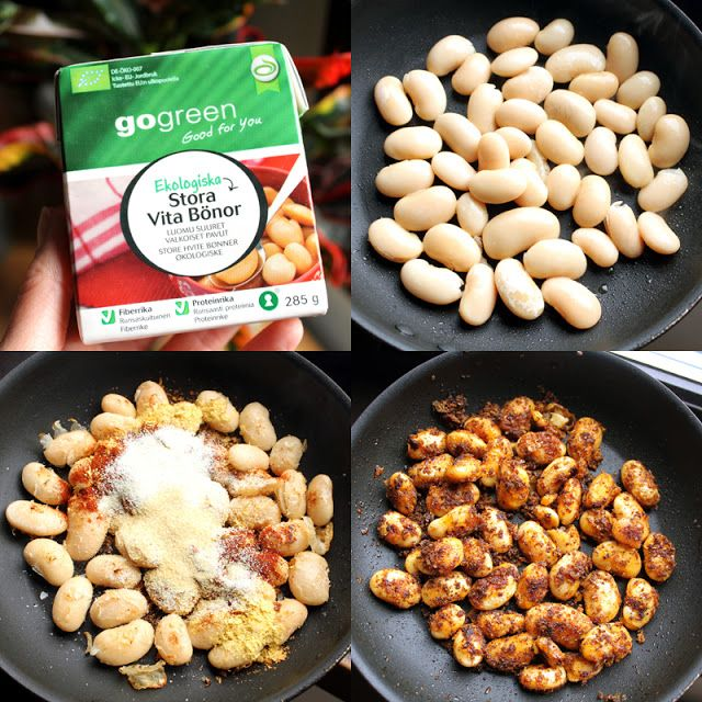 Oppskrift Paprikakrydder Paprikabønner Smørbønner Butterbeans Enkel Lunch Vegansk Vegetar Steke Bønner