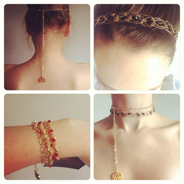 Headband, necklace, bracelet made with swarovski elements and goldplated chains