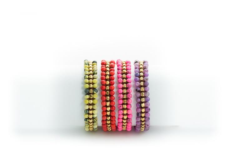 Sally bracelet, semi precious stones, leather gold vermeil