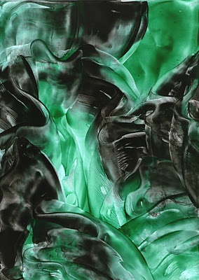 green and black silk encaustic art painting one of mine
