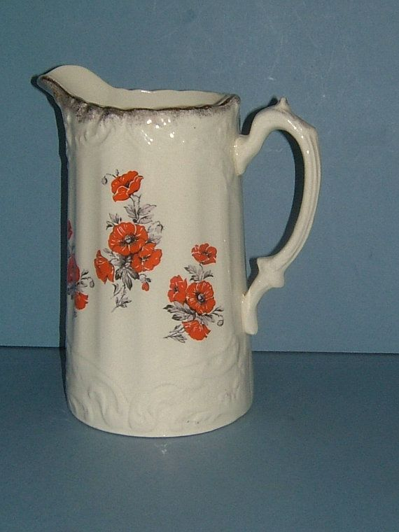 Victorian Ceramic Pitcher / Water Jug Decorated by BiminiCricket, $45.00
