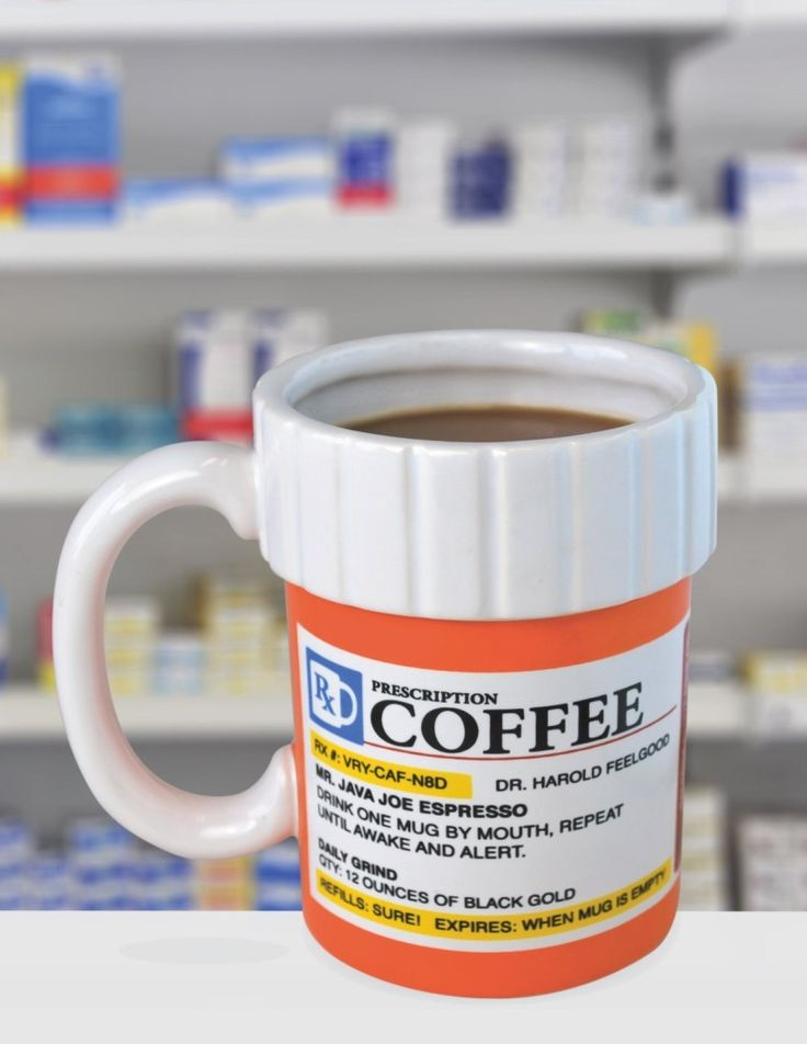 A great gift for coffee lovers, and coffee addicts. This hilarious ceramic coffee mug looks like a perscription medicine bottle, and the label is filled with hilarious puns about coffee.