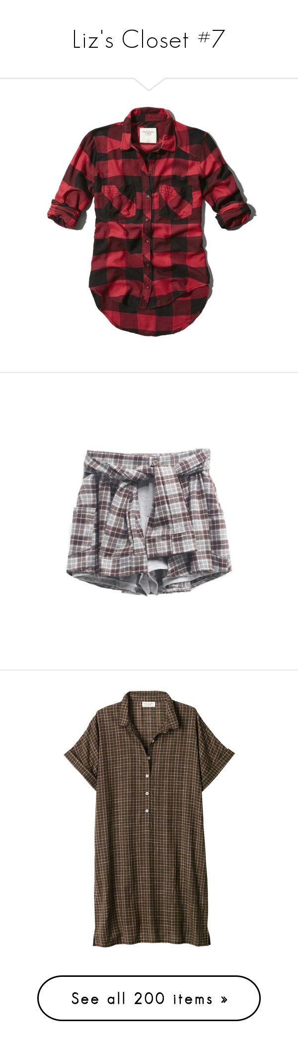 """""""Liz's Closet #7"""" by miss-brownstone06 ❤ liked on Polyvore featuring tops, shirts, flannels, plaid, red and black plaid, plaid flannel shirt, vintage tops, vintage button down shirts, red and black button up shirt and vintage shirts"""