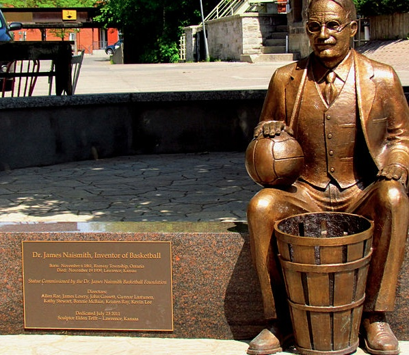 Dr James Naismith, born in Canada, a student of phys ed in Montreal invented basketball in 1891