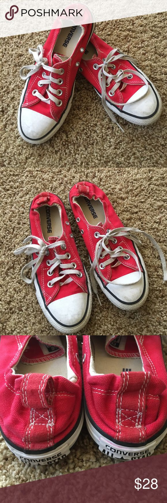 CONVERSE Girls Tennis Shoes - size 4 Red, canvas shoe.  Low tops style.  Tie.  Elastic at the back ankle.  Slightly worn, as shown in the pictures, but still in very good condition. Converse Shoes Sneakers