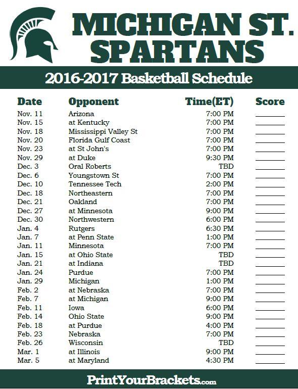 Michigan State Spartans 2016-2017 College Basketball Schedule