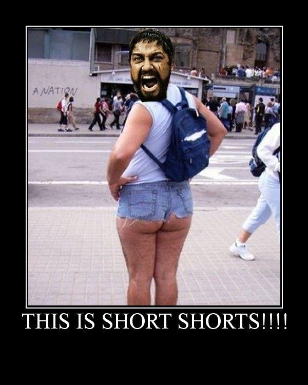 fat guy in short shorts