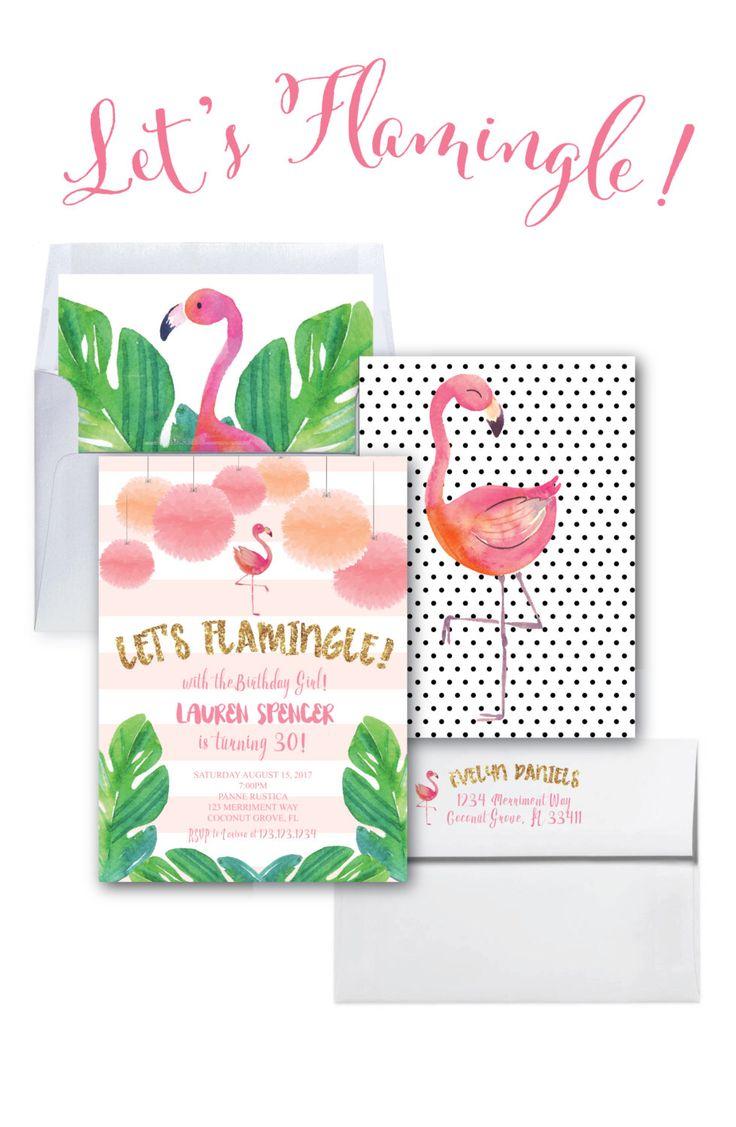 Flamingo Birthday Invitation // Let's Flamingle Invitation // Gold Glitter //  30th Birthday Party / Watercolor / COCONUT GROVE COLLECTION by MerrimentPress on Etsy https://www.etsy.com/listing/399086447/flamingo-birthday-invitation-lets